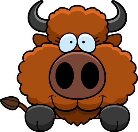 peering: A cartoon illustration of a buffalo peeking over an object.