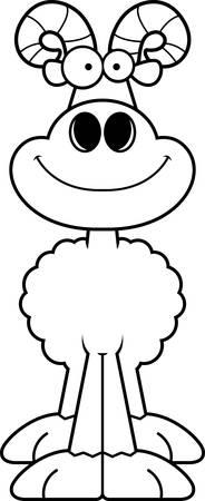 A cartoon illustration of a ram smiling.