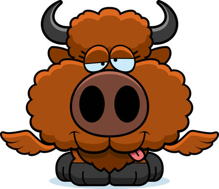 A cartoon illustration of a winged buffalo with a goofy expression.