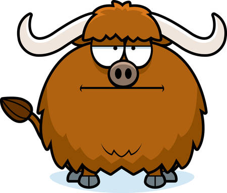 yak: A cartoon illustration of a yak looking bored. Illustration