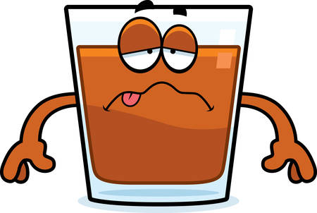 A cartoon illustration of a shot of whiskey looking sick. Illustration