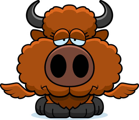 A cartoon illustration of a winged buffalo with a sad expression.