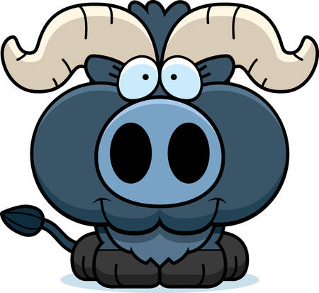blue smiling: A cartoon illustration of a little blue ox happy and smiling. Illustration