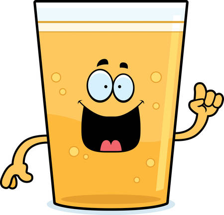 A cartoon illustration of a glass of beer with an idea.