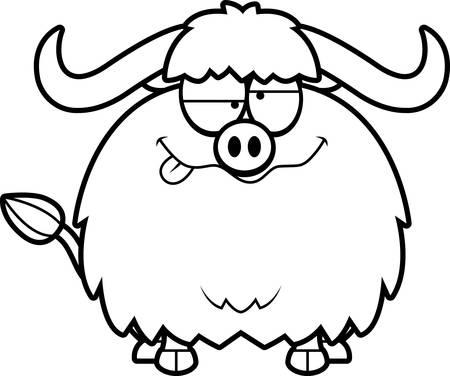 yak: A cartoon illustration of a yak looking drunk.