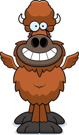A cartoon illustration of a winged buffalo looking happy.