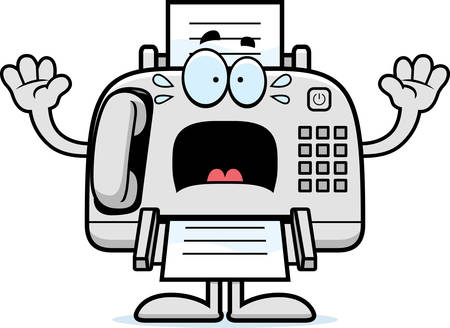 A cartoon illustration of a fax machine looking scared. Illustration