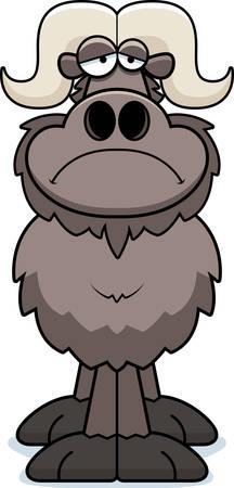 A cartoon illustration of an ox looking sad. Illustration