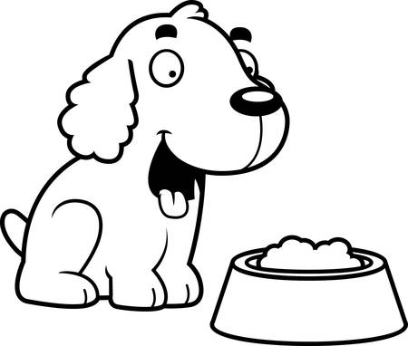 A cartoon illustration of a Cocker Spaniel with a bowl of food. Illustration