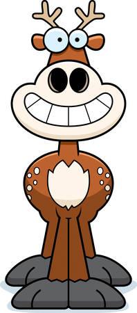 Een beeldverhaalillustratie van een hert op zoek gelukkig. Stock Illustratie