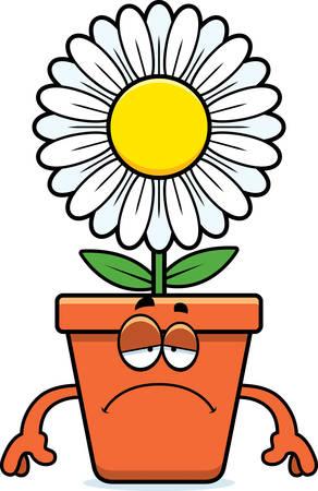 A cartoon illustration of a flowerpot looking sad.