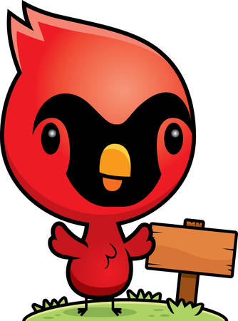wooden post: A cartoon illustration of a baby cardinal with a wooden sign post.
