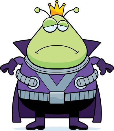 martian: A cartoon illustration of a Martian king looking sad.