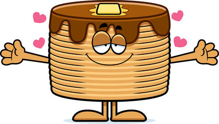 A cartoon illustration of a stack of pancakes ready to give a hug.