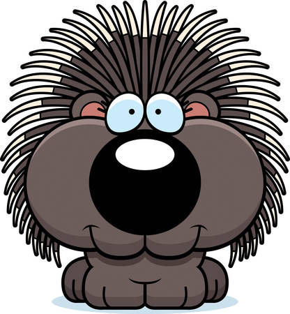 porcupine: A cartoon illustration of a porcupine happy and smiling. Illustration