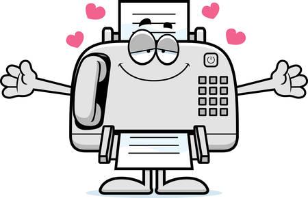 faxger�t: Eine Karikaturillustration ein Faxger�t bereit, eine Umarmung zu geben.