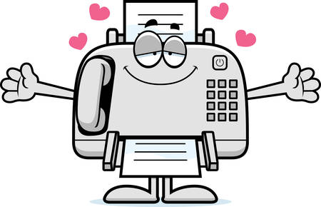 A cartoon illustration of a fax machine ready to give a hug.