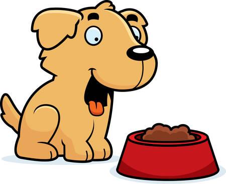 golden retriever puppy: A cartoon illustration of a Golden Retriever with a bowl of food.