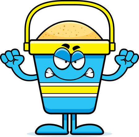 beach bucket: A cartoon illustration of a beach bucket looking angry.