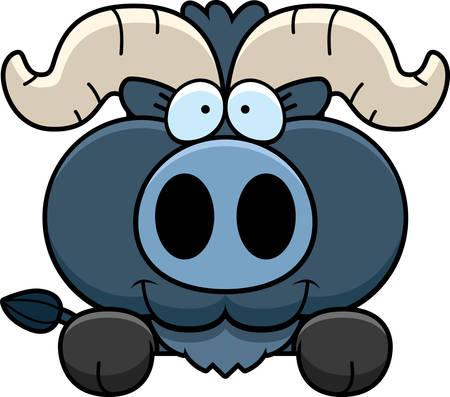 peekaboo: A cartoon illustration of a little blue ox peeking over an object.