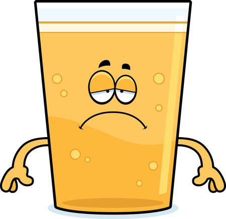 A cartoon illustration of a glass of beer looking sad.