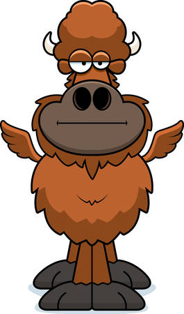 A cartoon illustration of a winged buffalo with a bored expression. Illustration