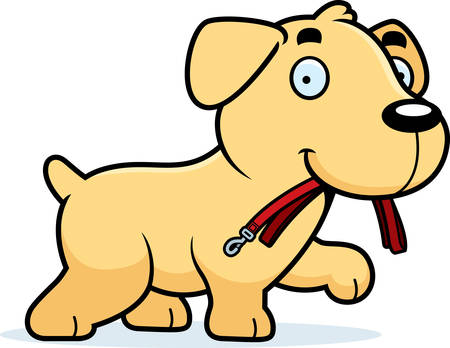 leash: A cartoon illustration of a Labrador Retriever walking with a leash in his mouth.