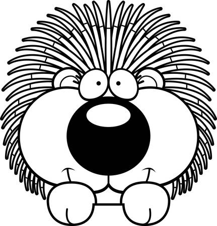 porcupine: A cartoon illustration of a porcupine peeking over an object. Illustration