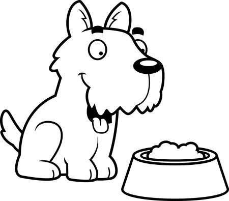 aberdeen: A cartoon illustration of a Scottie with a bowl of food. Illustration