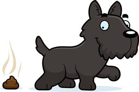 A cartoon illustration of a Scottie pooping.