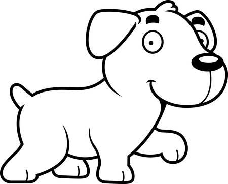 labrador: A cartoon illustration of a Labrador Retriever walking. Illustration