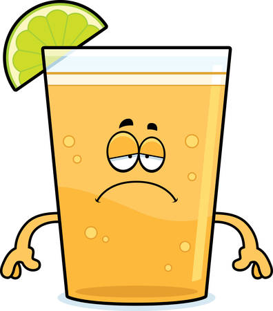 A cartoon illustration of a beer with lime looking sad. Çizim