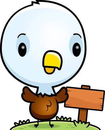 wooden post: A cartoon illustration of a baby bald eagle with a wooden sign post.