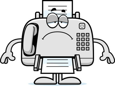 fax machine: A cartoon illustration of a fax machine looking sad.