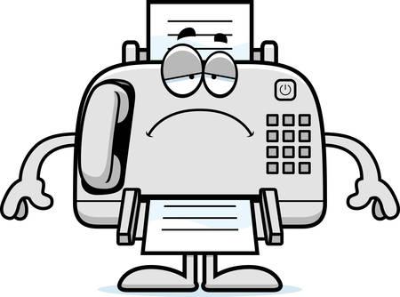 Eine Karikaturillustration ein Faxgerät suchen traurig. Standard-Bild - 44750543