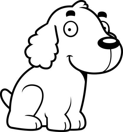 cocker: A cartoon illustration of a Cocker Spaniel sitting.