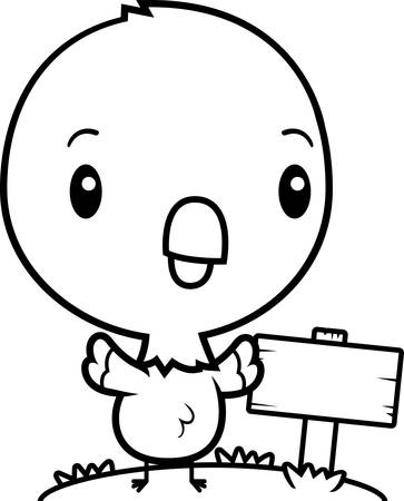 wooden post: A cartoon illustration of a baby parrot with a wooden sign post.