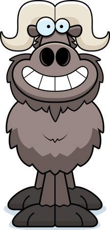 A cartoon illustration of an ox looking happy. Illustration
