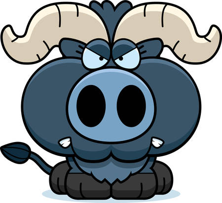 growl: A cartoon illustration of a little blue ox with an angry expression.