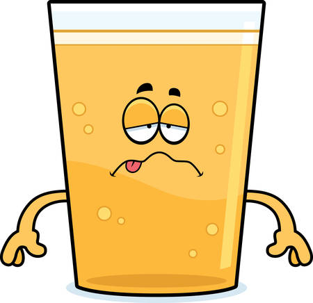nauseous: A cartoon illustration of a glass of beer looking sick.