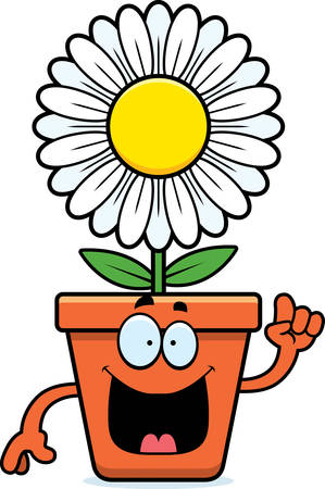 bloempot: A cartoon illustration of a flowerpot with an idea.
