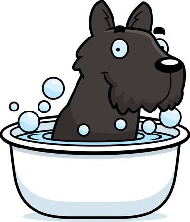 scottish terrier: A cartoon illustration of a Scottie taking a bath. Illustration