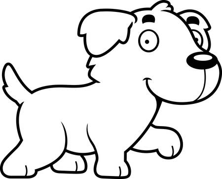golden retriever puppy: A cartoon illustration of a Golden Retriever walking.