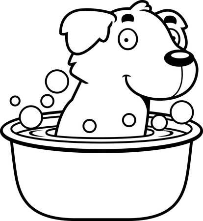 golden retriever puppy: A cartoon illustration of a Golden Retriever taking a bath.
