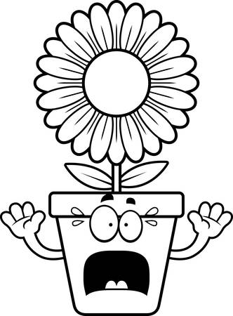 bloempot: A cartoon illustration of a flowerpot looking scared. Stock Illustratie
