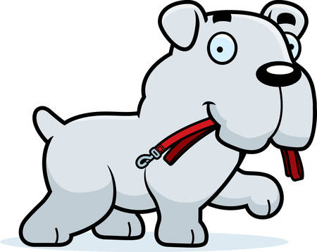 leash: A cartoon illustration of a Bulldog walking with a leash in his mouth.