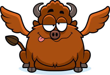 impaired: A cartoon illustration of a buffalo with wings looking drunk. Illustration
