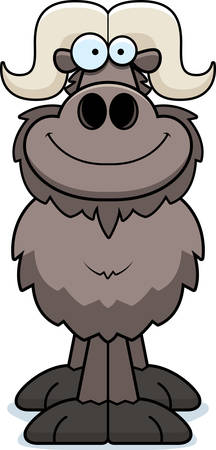 A cartoon illustration of an ox smiling.