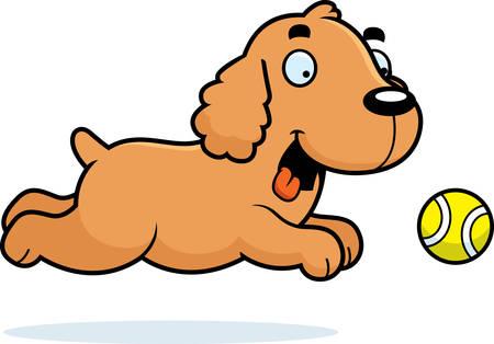 cocker: A cartoon illustration of a Cocker Spaniel chasing a ball.