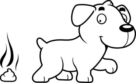 A cartoon illustration of a Labrador Retriever pooping.
